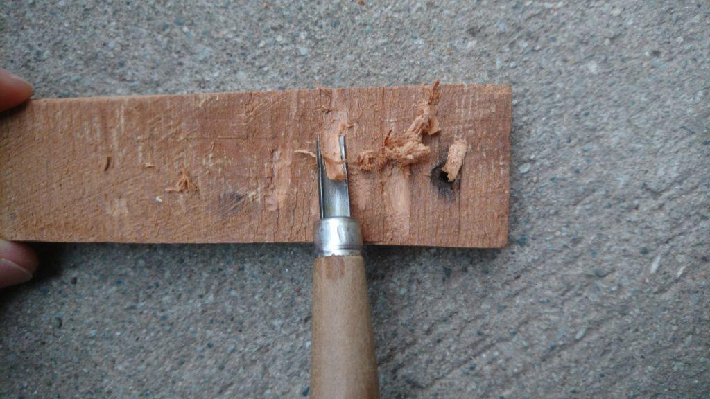 彫刻刀 駒透 試し彫り