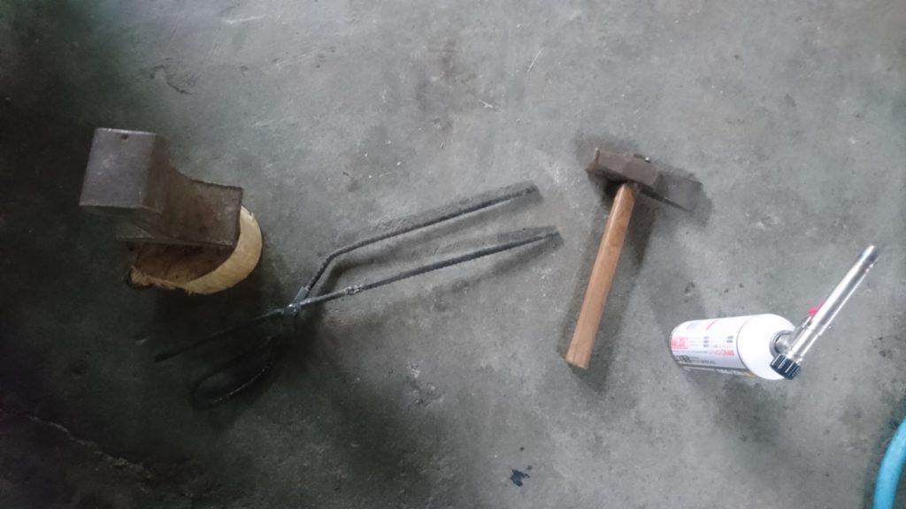 廃材で炭バサミ 改造 先端加工