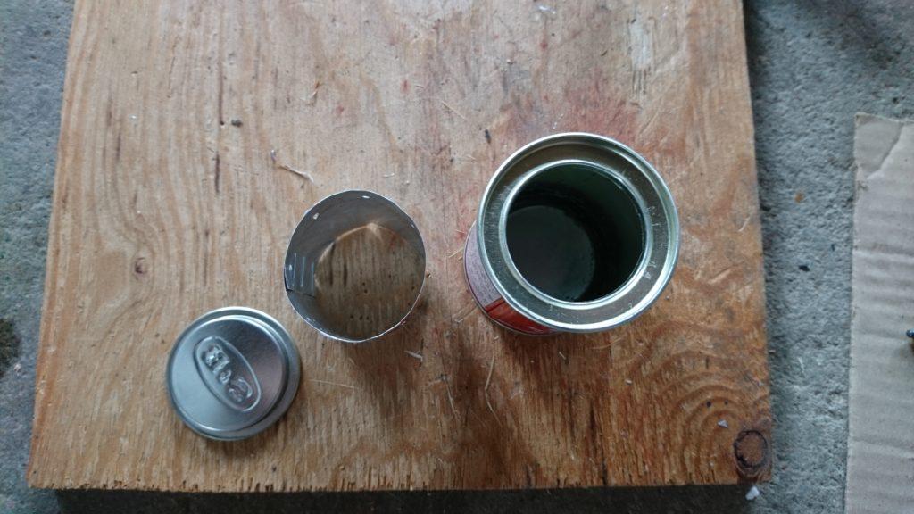 S&B特製ヱスビーカレー缶でアルコールストーブ 仕切り組み込み