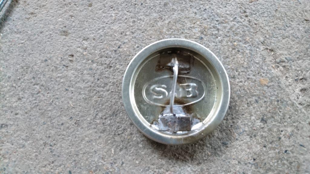 S&B特製ヱスビーカレー缶でアルコールストーブ 蓋加工 はんだ付け完了