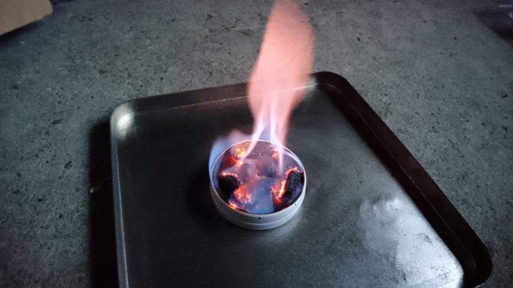 のど飴缶アルコールストーブ燃焼
