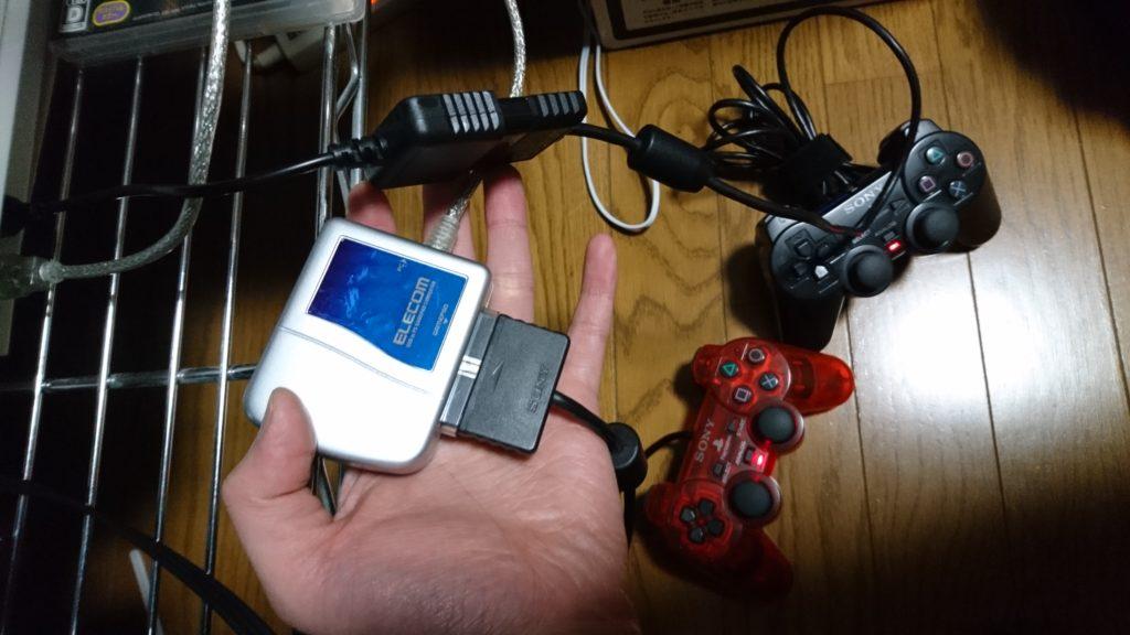 PS3にコントローラーUSB変換器2つ使用