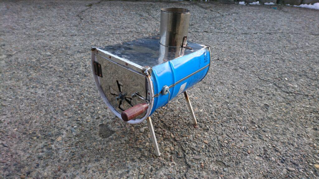 自作ペール缶横向き薪ストーブ製作。~前編~(ロケットストーブ構造)