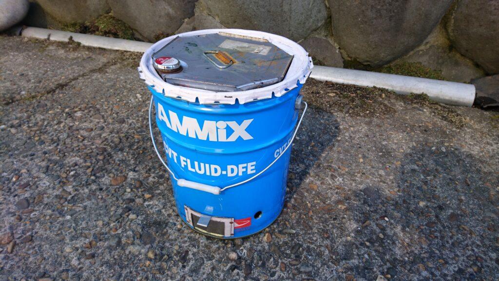 ペール缶と一斗缶でウッドガスストーブを製作! 仮組状態