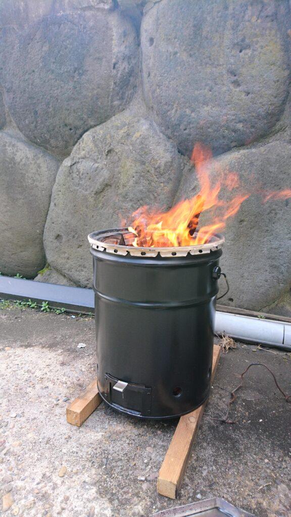 ペール缶ウッドガスストーブ製作! 燃焼テスト
