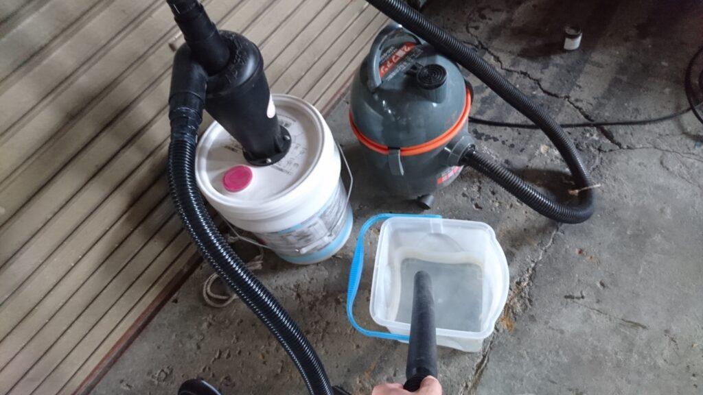 サイクロン集塵装置で水を吸ってみる。